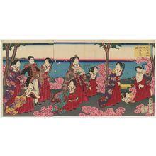 Utagawa Kuniaki: An Imperial Excursion to Maruyama in Shiba Park (Shiba kôenji Maruyama goyûran no zu) - Museum of Fine Arts