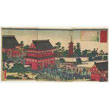 Utagawa Hiroshige III: Famous Places in Tokyo: Complete View of the Asakusa Kinryûzan Kanzeon Temple (Tôkyô meisho no uchi: Asakusa Kinryûzan Kanzeon no zenzu) - Museum of Fine Arts