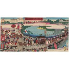 Utagawa Kokunimasa: View of the Sakurada Gate at the Ceremony of the Promulgation of the Constitution (Kenpô happushiki Sakurada no kei) - ボストン美術館