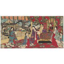 豊原周延: Spring Felicitations in Japanese Brocade (Wakin haru no kotobuki) - ボストン美術館