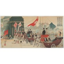 Ogata Gekko: Citizens Greeting the Carriage of His Imperial Majesty and Commander-in-Chief upon His Return through the Triumphal Arch (Daigensui heika gokan kôgaisenmon gotsûren shimin hôgei no shinzu) - Museum of Fine Arts