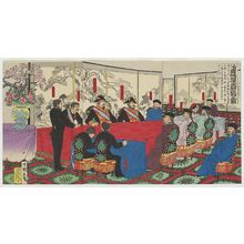Utagawa Kokunimasa: Chinese Peace Negotiators Come to Japan for Talks (Shinkoku kôwashi raichô danpan no zu) - ボストン美術館