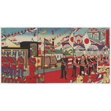 Utagawa Kokunimasa: Illustration of the Arrival Ceremony to Welcome the Russian Crown Prince (Rokoku kôtaishi gochaku no zu) - ボストン美術館