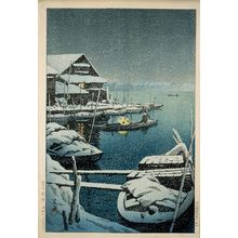 Kawase Hasui: Snow at Mukôjima (Yuki no Mukôjima) - Museum of Fine Arts
