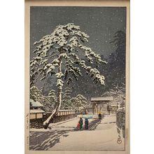 川瀬巴水: Honmon-ji Temple in Ikegami (Ikegami Honmon-ji) - ボストン美術館