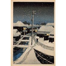 川瀬巴水: Evening Snow at Terashima Village (Yuki ni kure no Terashima mura), from the series Twelve Scenes of Tokyo (Tôkyô jûnidai) - ボストン美術館