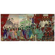Toyohara Chikanobu: Congratulatory Banquet at the New Imperial Palace (Shin kôkyo goshukuen no zu) - Museum of Fine Arts