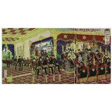 Utagawa Kuniyasu: Celebration Banquet at the New Imperial Palace (Shin kôkyo gohaiga no zu) - Museum of Fine Arts