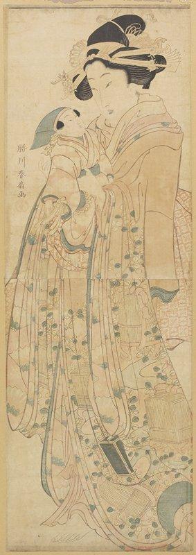 Katsukawa Shunsen: (Woman Holding a Doll) - Minneapolis Institute of Arts