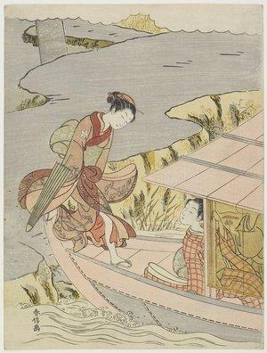 鈴木春信: Woman Boarding a Boat - ミネアポリス美術館