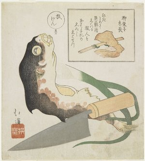 Totoya Hokkei: (Globefish, Leek and Cooking Knife) - Minneapolis Institute of Arts