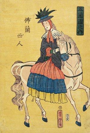 歌川芳虎: French Lady on Horseback - ミネアポリス美術館