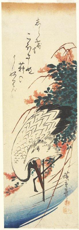 歌川広重: (Crane and Bush Clover) - ミネアポリス美術館