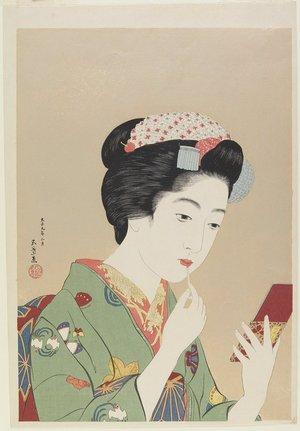 Hashiguchi Goyo: Woman Holding Lip Brush - Minneapolis Institute of Arts