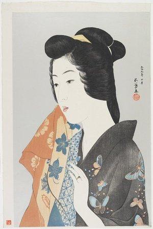 橋口五葉: (Woman Holding Towel) - ミネアポリス美術館