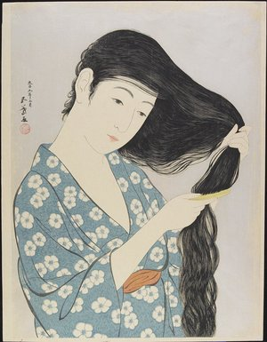 Hashiguchi Goyo: Woman Combing Her Hair - Minneapolis Institute of Arts
