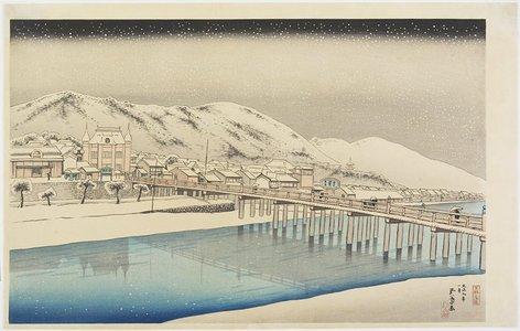橋口五葉: The Great Bridge of Sanjo in Kyoto - ミネアポリス美術館