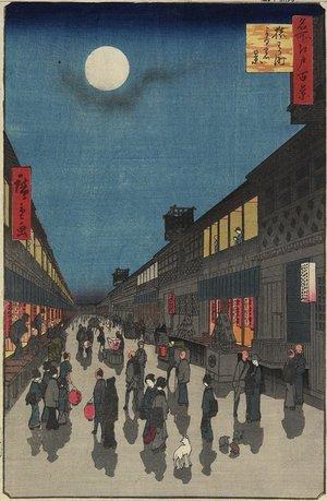 Utagawa Hiroshige: Evening View, of Saruwaka-machi - Minneapolis Institute of Arts