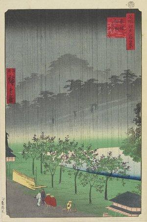 二歌川広重: EveningView, Paulownia Plantation at Akasaka in Downpour - ミネアポリス美術館