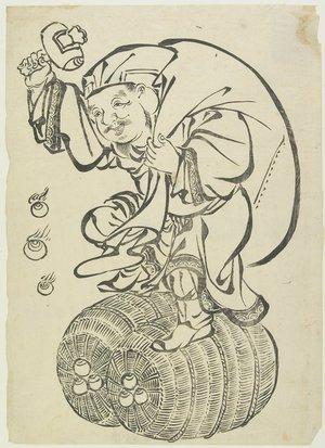 無款: Daikoku God on Rice Bales - ミネアポリス美術館