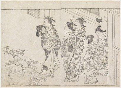 Hanabusa Shigenobu: (Five Courtesans in a Courtyard) - Minneapolis Institute of Arts