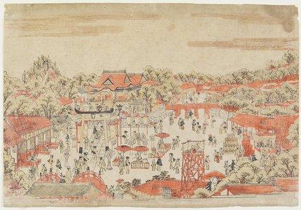 歌川豊春: (Scene in a Shrine Ground) - ミネアポリス美術館