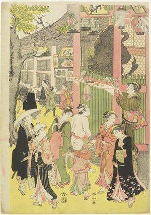 Katsukawa Shunzan: (Crowd at the Gateway of Asakusa Temple) - Minneapolis Institute of Arts