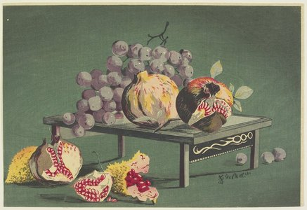小林清親: Pomegranates and Grapes - ミネアポリス美術館