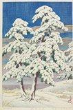川瀬巴水: Pine Tree in Clear Weather after Snow - ミネアポリス美術館