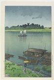 川瀬巴水: May Day Rain at Arakawa River - ミネアポリス美術館