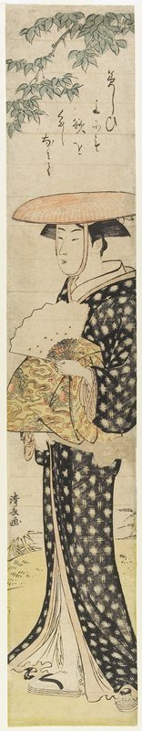 Torii Kiyonaga: (A Woman With a Hat Walking Under a Tree) - Minneapolis Institute of Arts