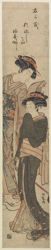 Isoda Koryusai: (Two Courtesans Standing in Room) - Minneapolis Institute of Arts