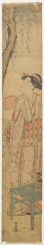 Katsukawa Shuncho: (Courtesan Cooling under a Willow Tree) - Minneapolis Institute of Arts