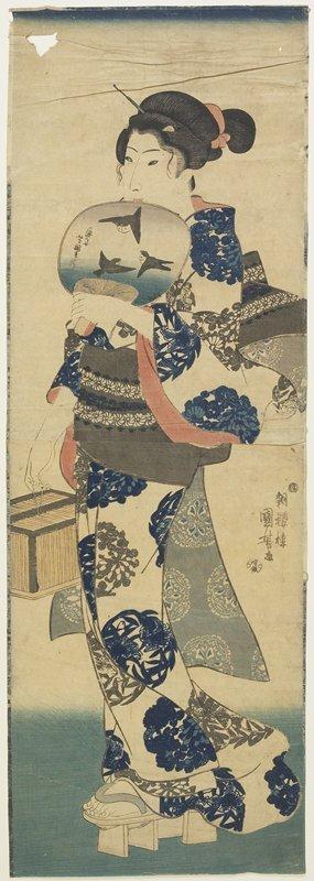歌川国芳: (Woman with Fan and Cricket Cage) - ミネアポリス美術館