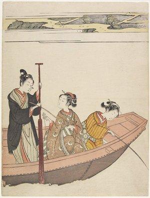 鈴木春信: Fishing Near Mimeguri Shrine on the Sumida River - ミネアポリス美術館