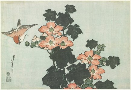 Katsushika Hokusai: Rose Mallow and Sparrow - Minneapolis Institute of Arts
