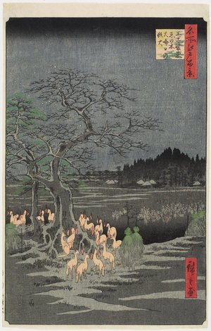 Utagawa Hiroshige: New Year's Eve Foxfires at Nettle Tree, Oji - Minneapolis Institute of Arts