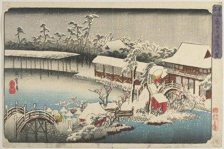 歌川広重: Snow at the Shrine Ground of Kameido Tenman - ミネアポリス美術館