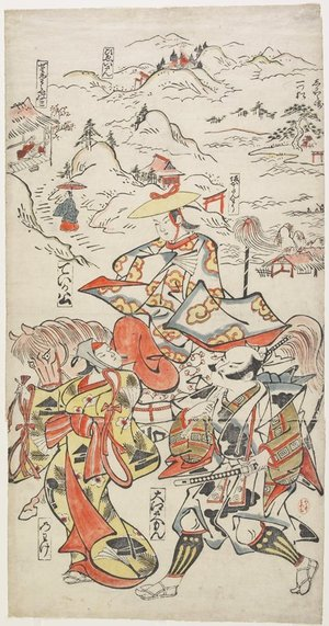 Torii Kiyomasu I: Fujiwara no Teika on Horseback Accompanied by Oe Saemon and The Woman Nowake - Minneapolis Institute of Arts