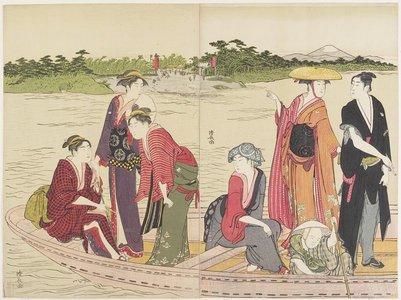 鳥居清長: Ferryboat on the Rokugo River - ミネアポリス美術館
