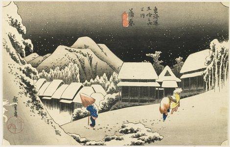 歌川広重: Night Snow at Kanbara - ミネアポリス美術館