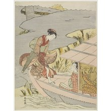 Suzuki Harunobu: Woman Boarding a Boat - Minneapolis Institute of Arts