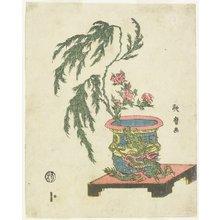 喜多川歌麿: Peony and Willow in Dragon Pot - ミネアポリス美術館
