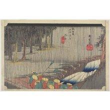 歌川広重: Spring Rain, Tsuchiyama - ミネアポリス美術館