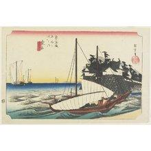 歌川広重: Ferry Gate of Shichiri, Kuwana - ミネアポリス美術館