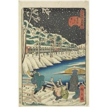 Utagawa Hirokage: No.14 Snow on Akabane Bridge in Shiba - Minneapolis Institute of Arts