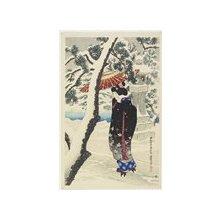 伊東深水: Snow at the Shrine - ミネアポリス美術館