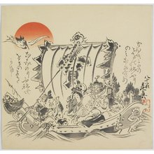 Shibata Zeshin: The Seven Gods of Good Fortune in Treasure Ship - Minneapolis Institute of Arts