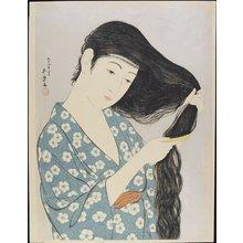 橋口五葉: Woman Combing Her Hair - ミネアポリス美術館