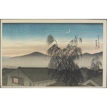 橋口五葉: Evening Moon over Kobe - ミネアポリス美術館